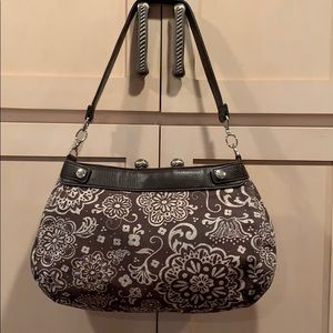 Handbags - EUC thirty one skirt purse brown woodblock floral